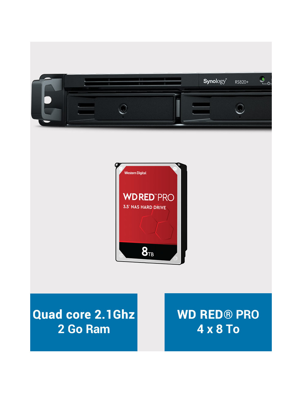 Synology RS820+ 2GB Serveur NAS WD RED PRO 32To (4x8To)