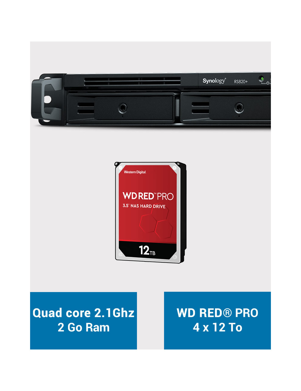 Synology RS820+ 2GB Serveur NAS WD RED PRO 48To (4x12To)