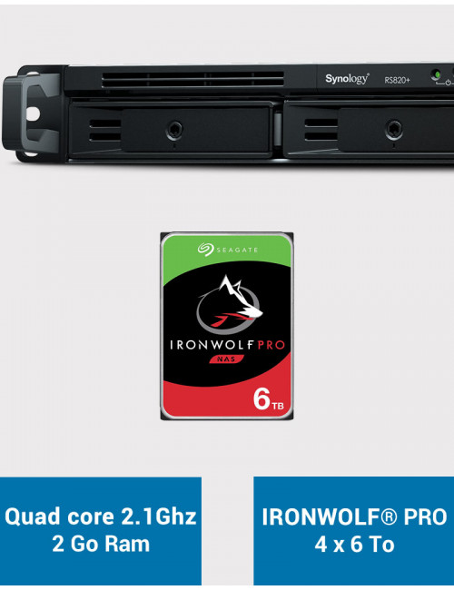 Synology RS820+ 2GB Serveur NAS IRONWOLF PRO 24To (4x6To)
