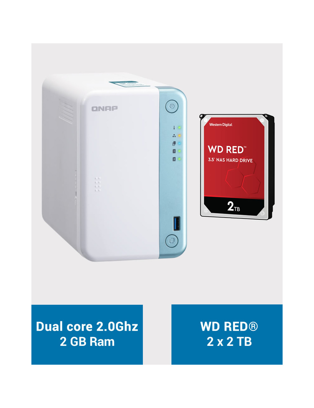 QNAP TS-251D Serveur NAS WD RED 4To (2x2To)