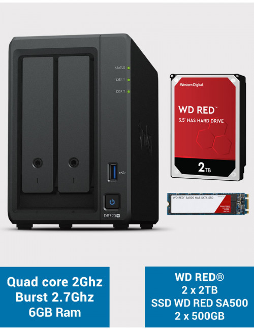 Synology DS720+ 6Go CACHE SSD M.2 WD RED 4To (2x2To)