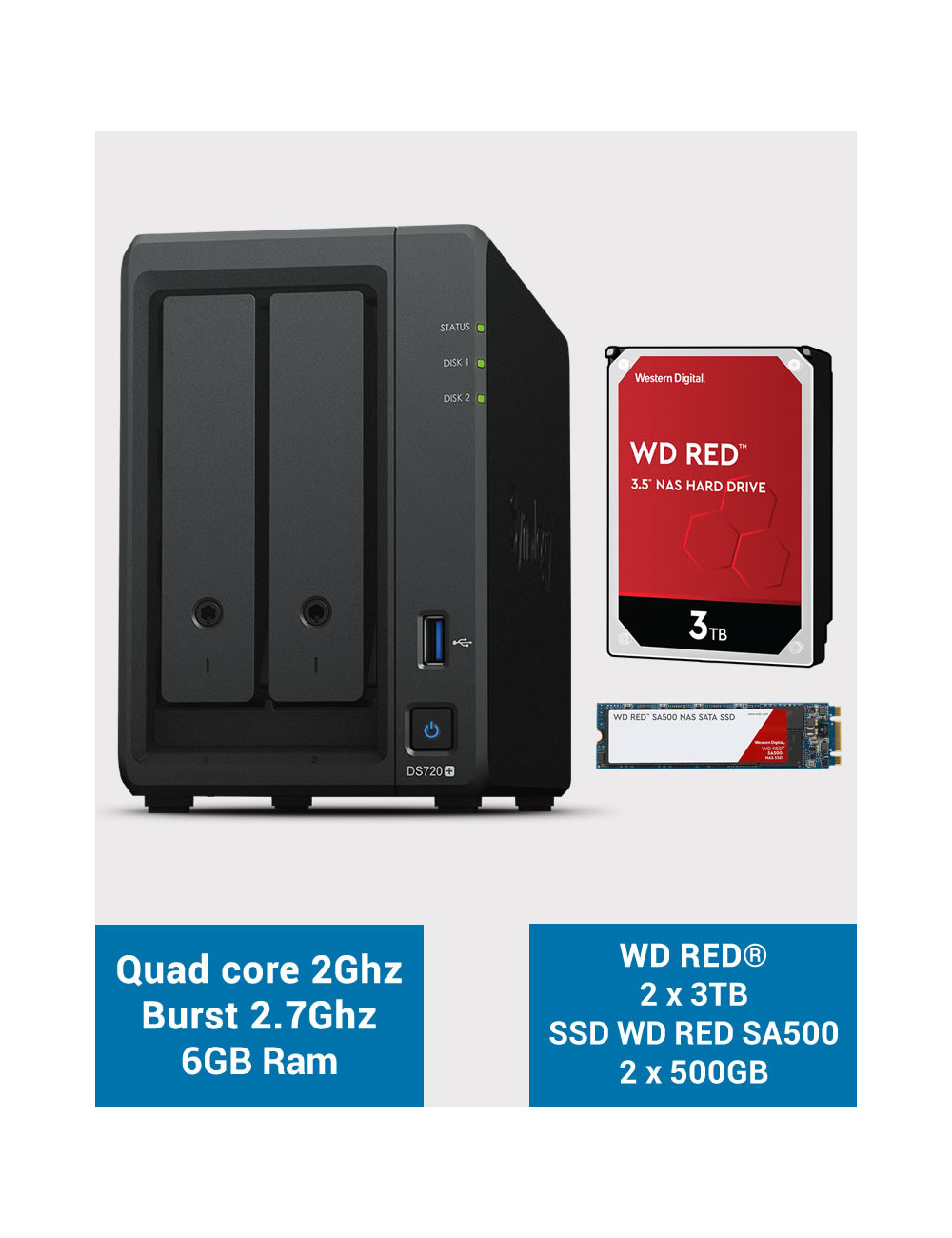 Synology DS720+ 6Go CACHE SSD M.2 WD RED 6To (2x3To)