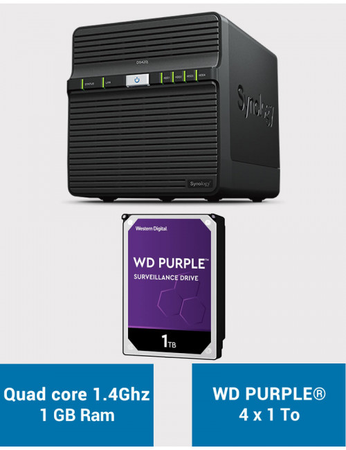 Synology DS420J Serveur NAS WD PURPLE 4To (4x1To)