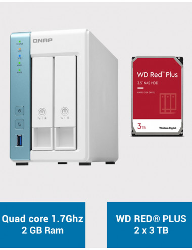 QNAP TS-231P3 2Go Serveur NAS WD RED PLUS 6To (2x3To)