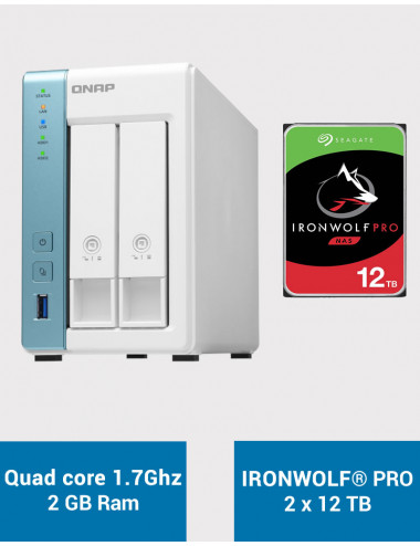 QNAP TS-231P3 2Go Serveur NAS IRONWOLF PRO 24To (2x12To)