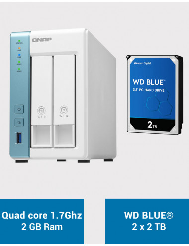 QNAP TS-231P3 2Go Serveur NAS WD BLUE 4To (2x2To)