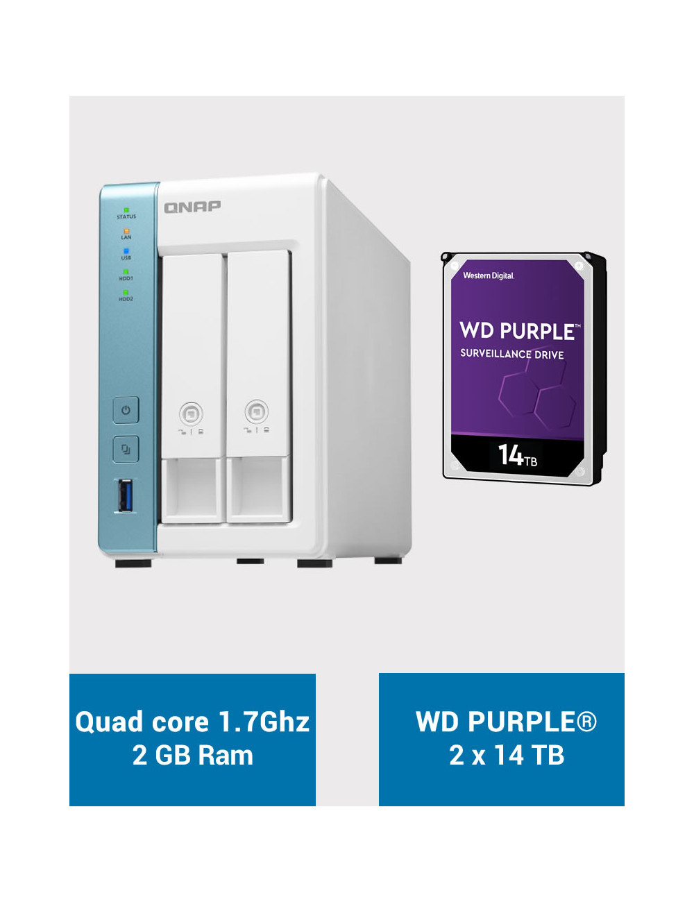 QNAP TS-231P3 2Go Serveur NAS WD PURPLE 28To (2x14To)
