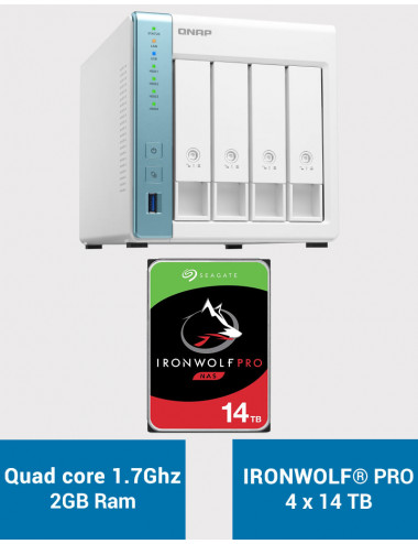 QNAP TS-431P3 2Go Serveur NAS IRONWOLF PRO 56To (4x14To)