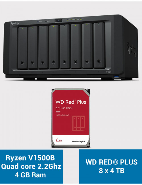 Synology DS1821+ Serveur NAS WD RED PLUS 32To (8x4To)