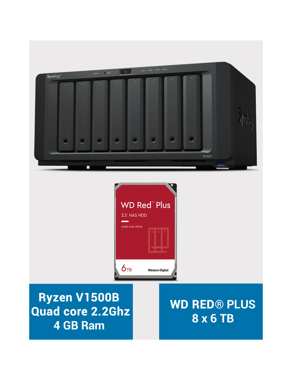 Synology DS1821+ Serveur NAS WD RED PLUS 48To (8x6To)