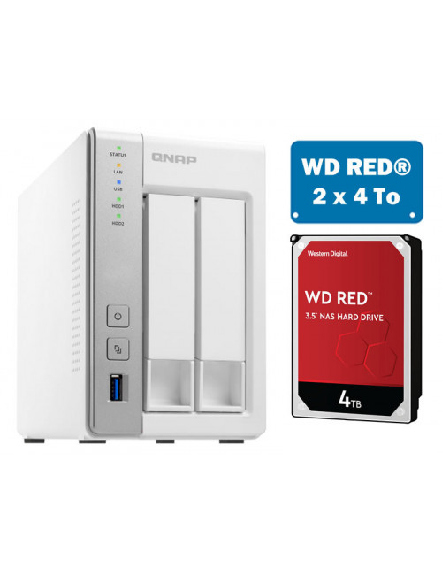 QNAP TS-231P Serveur NAS WD RED 8 To