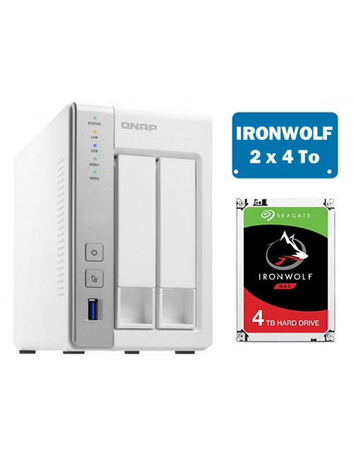 QNAP TS-231P Serveur NAS IRONWOLF 8 To
