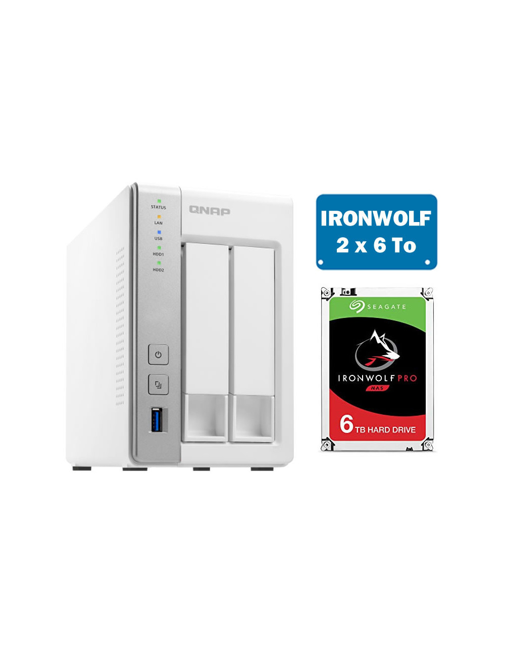 QNAP TS-231P Serveur NAS IRONWOLF 12 To