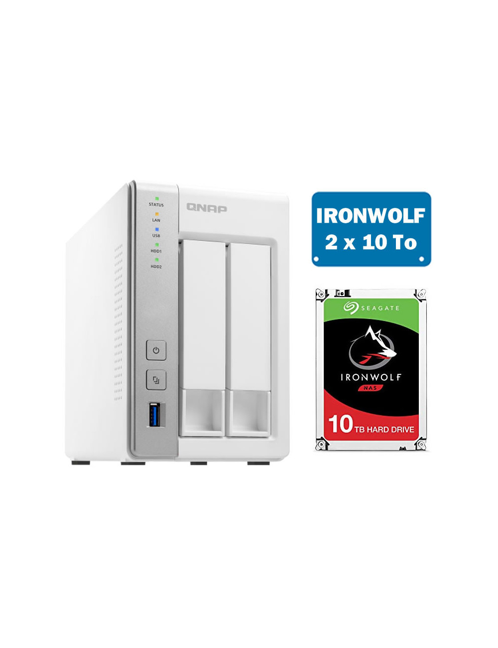 QNAP TS-231P Serveur NAS IRONWOLF 20 To