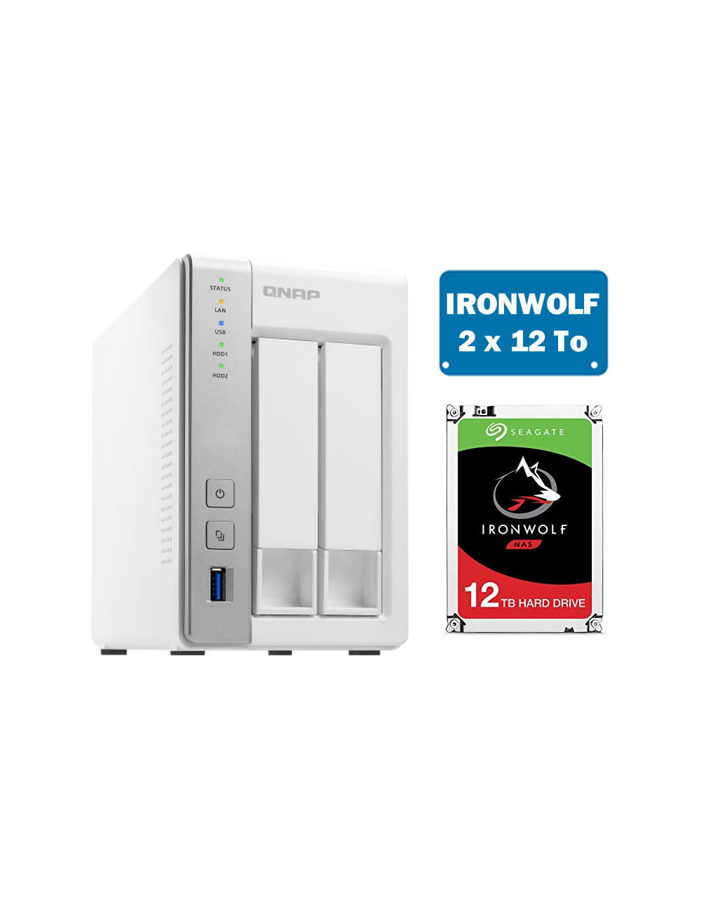 QNAP TS-231P Serveur NAS IRONWOLF 24 To