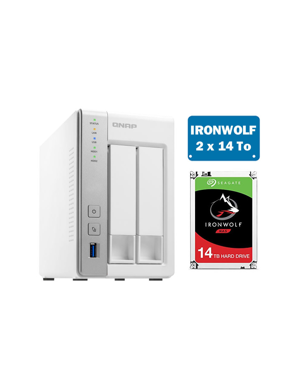 QNAP TS-231P Serveur NAS IRONWOLF 28 To