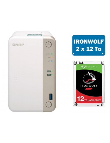 QNAP TS-251B NAS Server IRONWOLF 24TB