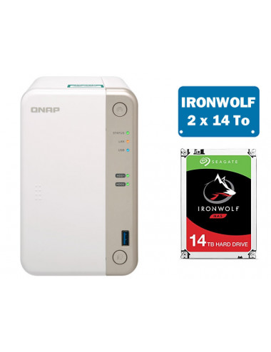 QNAP TS-251B NAS Server IRONWOLF 28TB