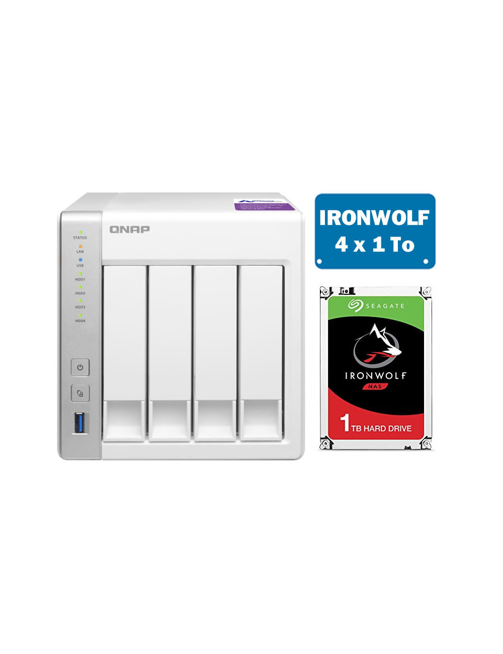 QNAP TS-431P Serveur NAS IRONWOLF 4 To