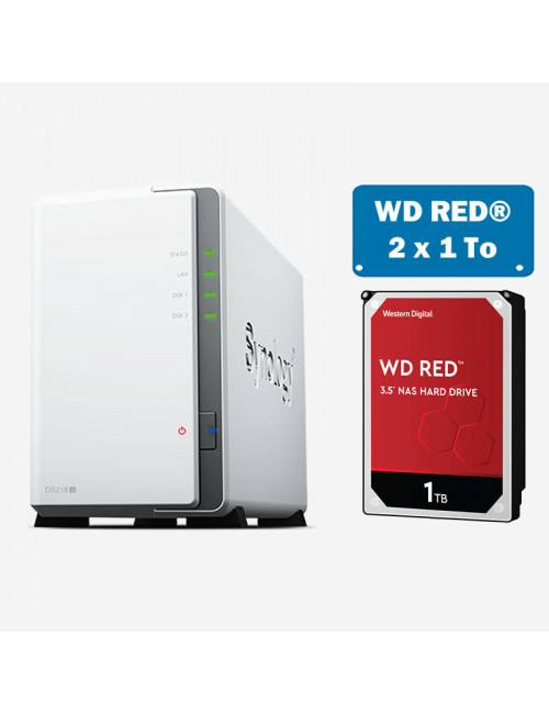 Synology DS218J Serveur NAS WD RED 2To (2x1To)