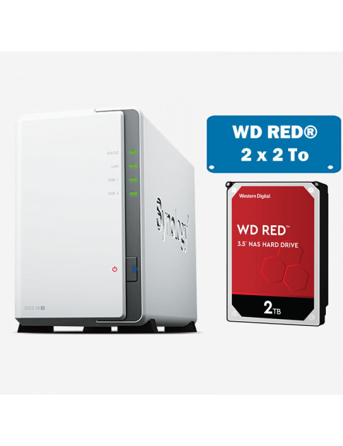 Synology DS218J Serveur NAS WD RED 4To (2x2To)