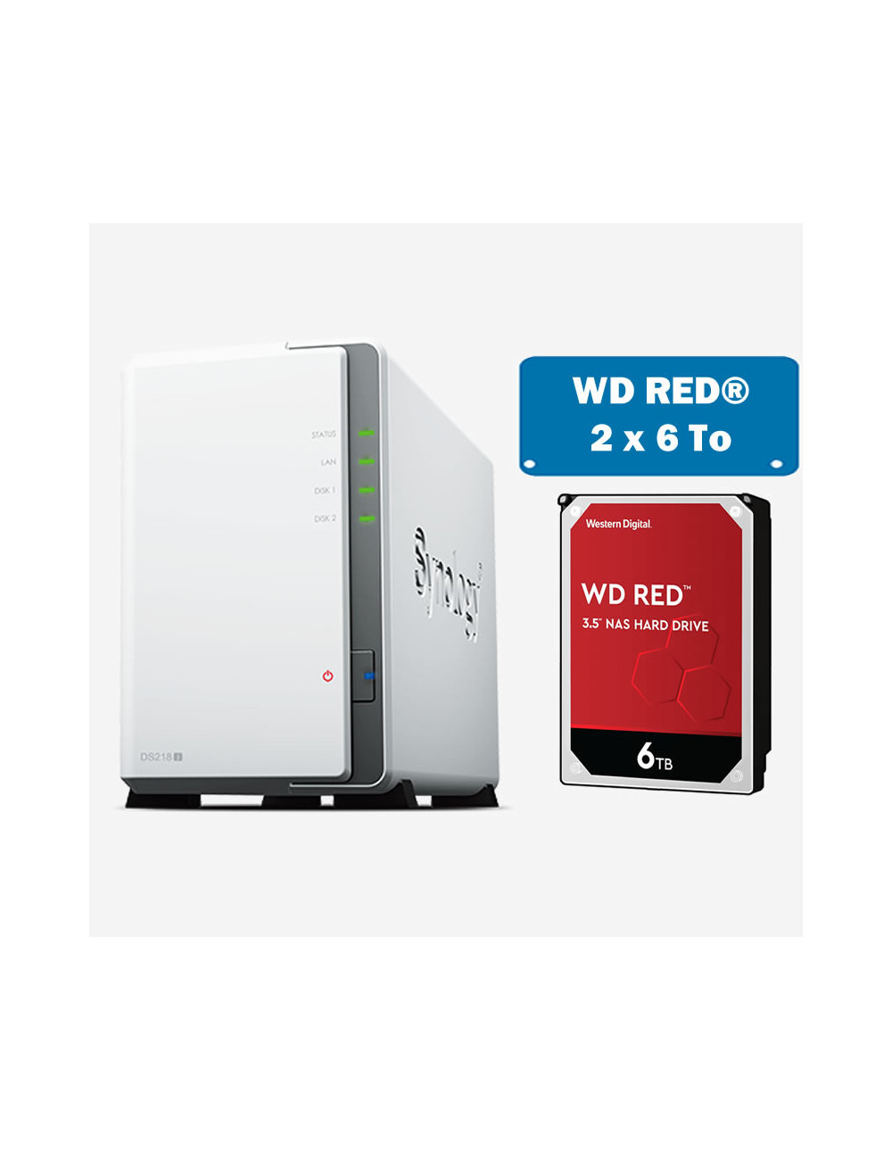 Synology DS218J Serveur NAS WD RED 12To (2x6To)