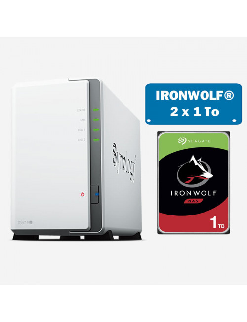 Synology DS218J Serveur NAS IRONWOLF 2To (2x1To)