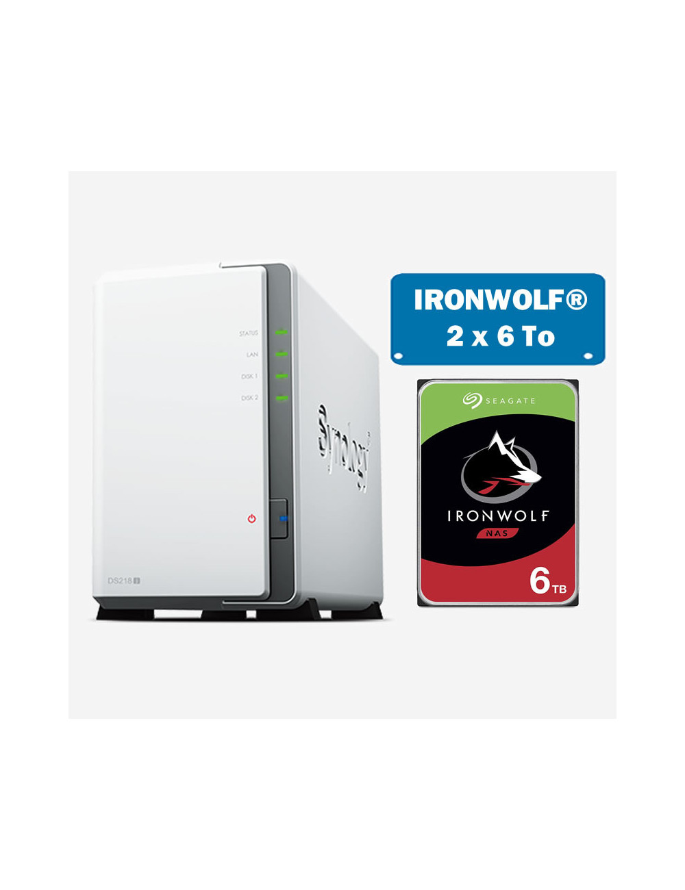 Synology DS218J Serveur NAS IRONWOLF 12To (2x6To)