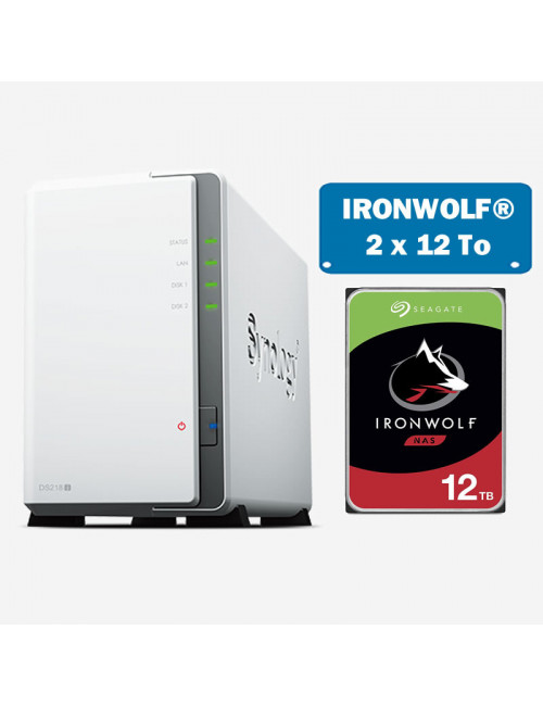 Synology DS218J Serveur NAS IRONWOLF 24To (2x12To)