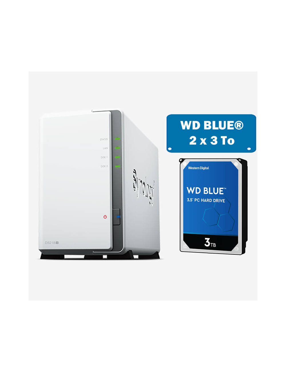 Synology DS218J Serveur NAS WD BLUE 6To (2x3To)