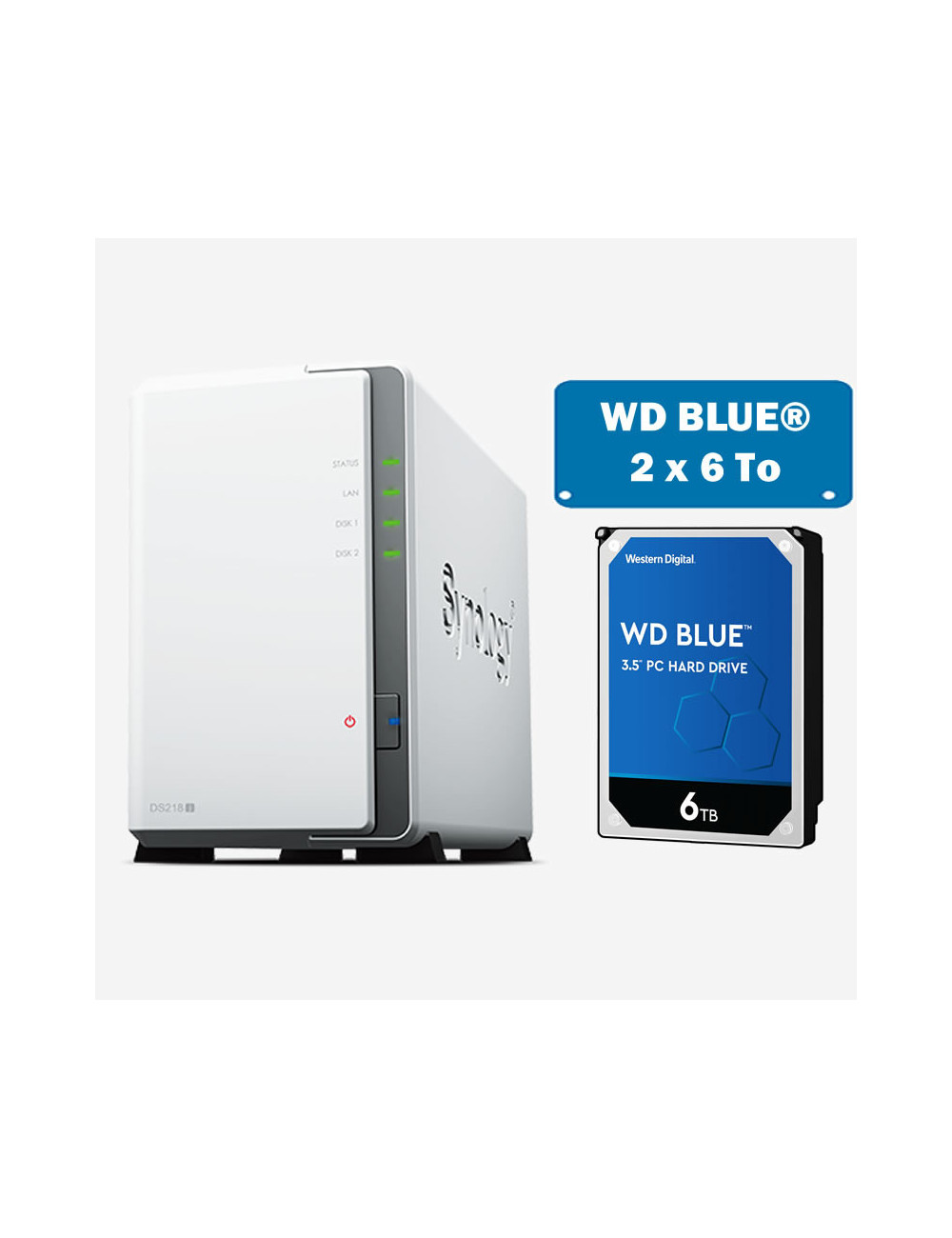 Synology DS218J Serveur NAS WD BLUE 12To (2x6To)