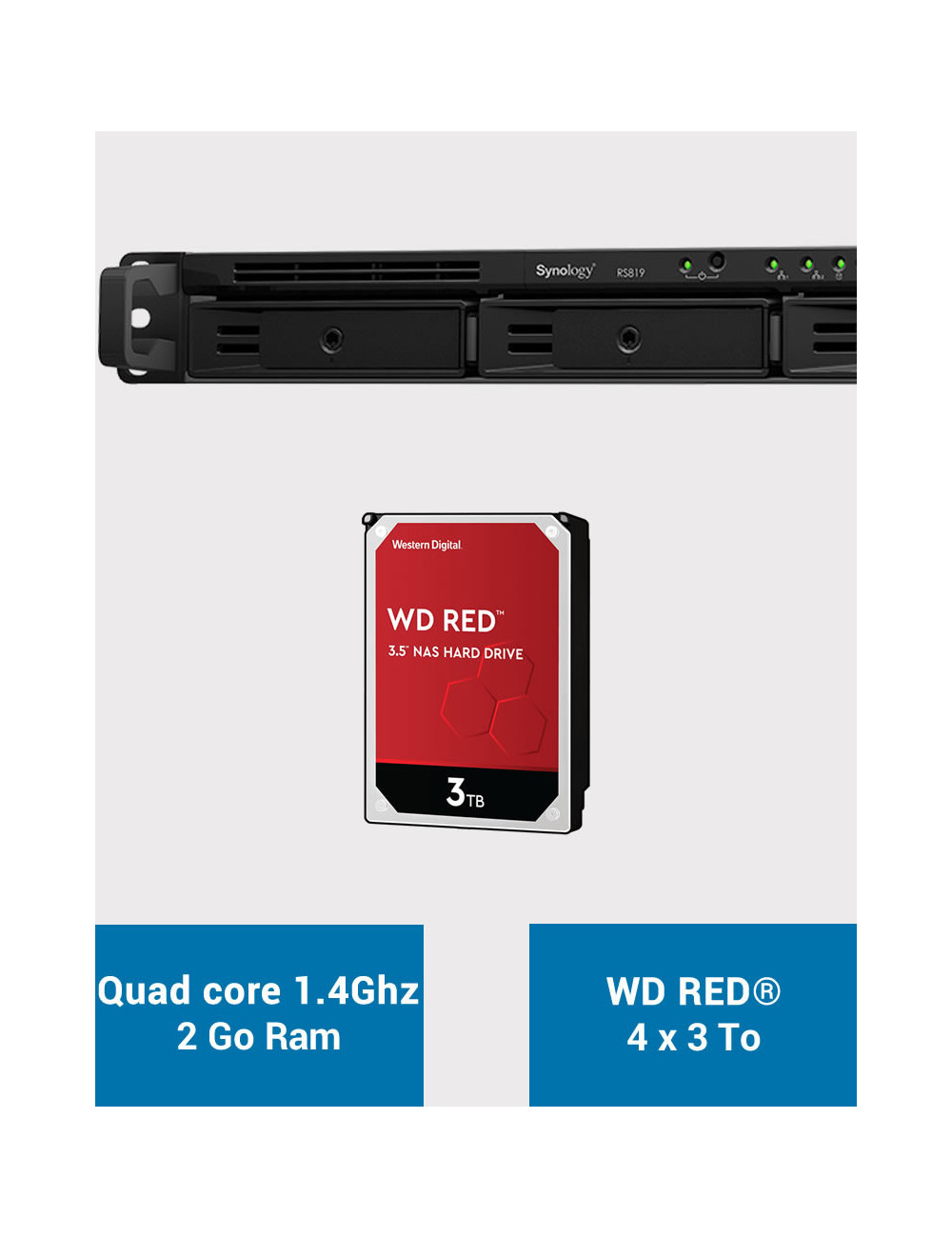 Synology RS819 NAS Server WD RED 12TB (4x3TB)