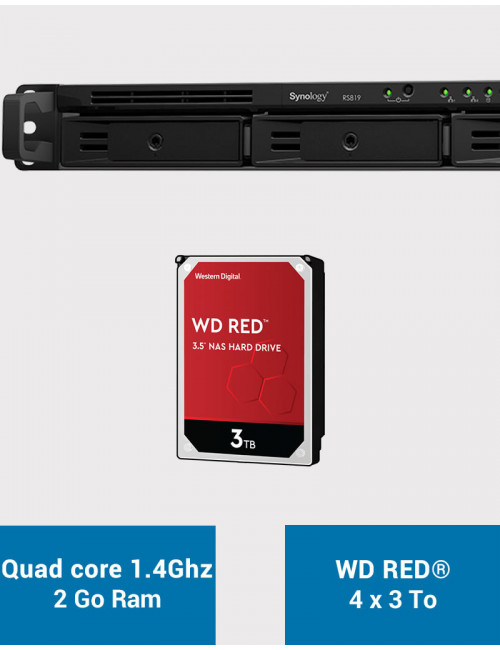 Synology RS819 Serveur NAS WD RED 12To (4x3To)