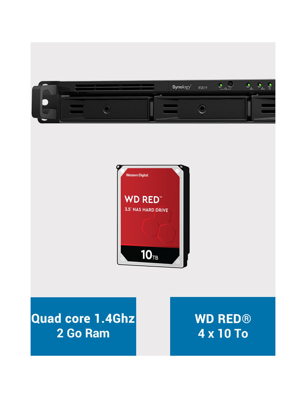 Synology RS819 NAS Server WD RED 40TB (4x10TB)