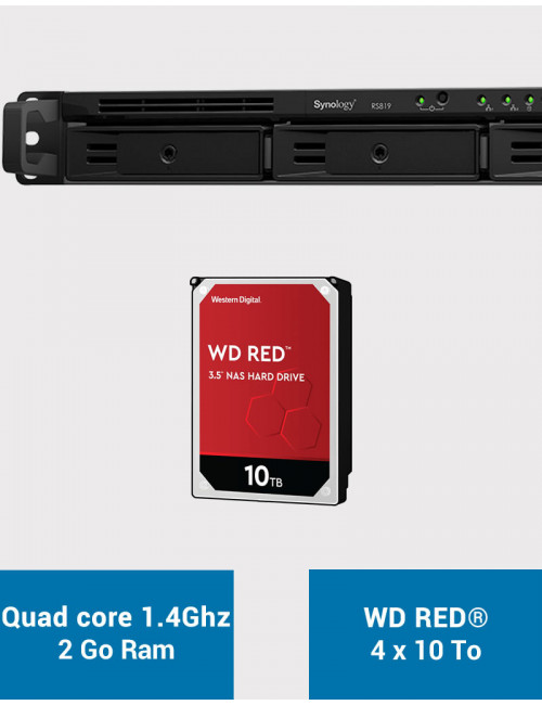 Synology RS819 Serveur NAS WD RED 40To (4x10To)