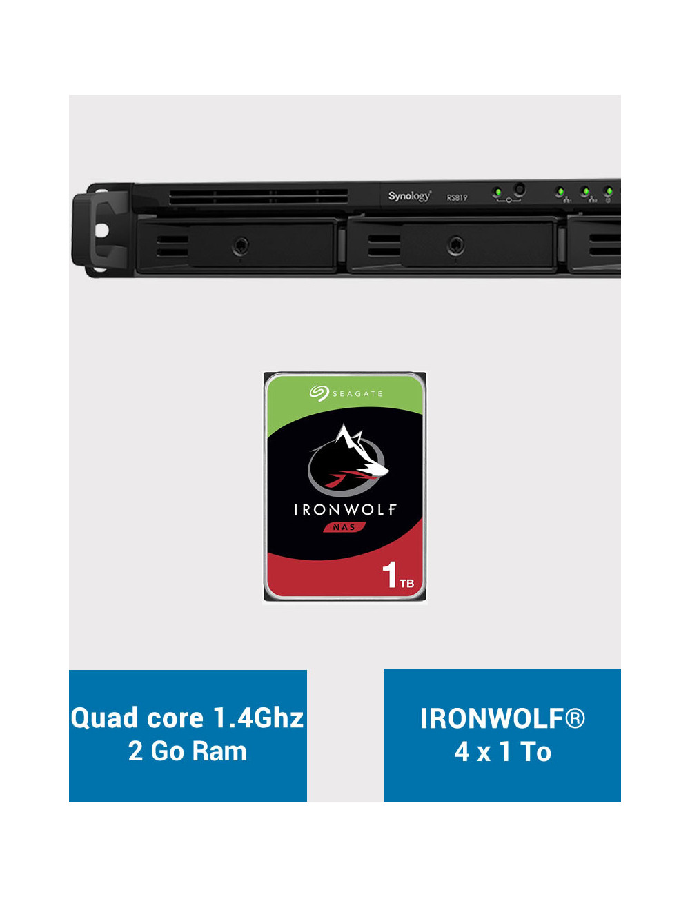 Synology RS819 Serveur NAS IRONWOLF 4To (4x1To)