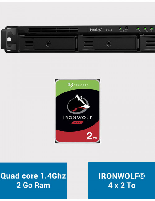 Synology RS819 Serveur NAS IRONWOLF 8To (4x2To)