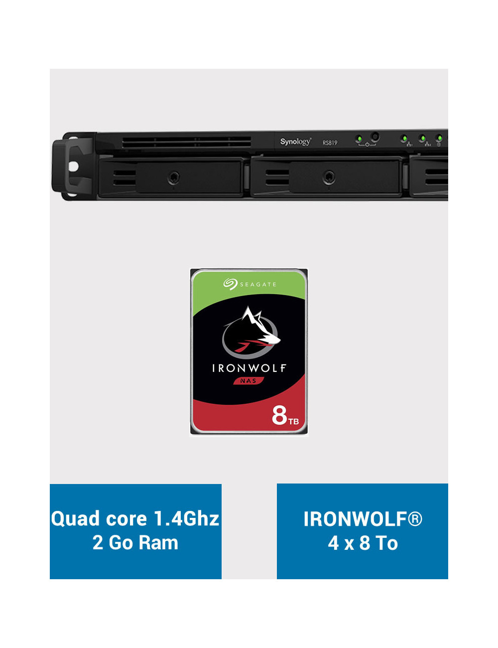 Synology RS819 Serveur NAS IRONWOLF 32To (4x8To)