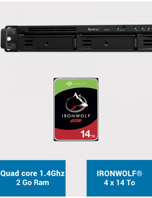Synology RS819 Serveur NAS IRONWOLF 56To (4x14To)