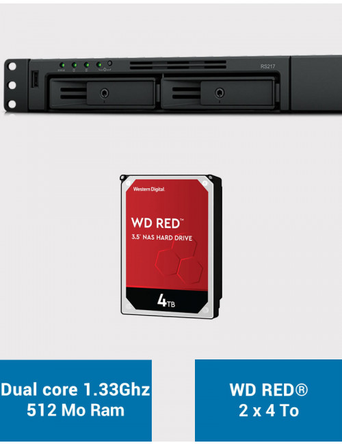 Synology RS217 NAS Server WD RED 8TB (2x4TB)