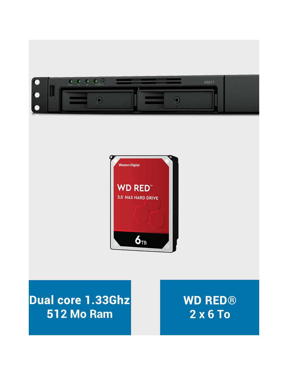 Synology RS217 NAS Server WD RED 12TB (2x6TB)