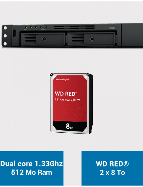 Synology RS217 NAS Server WD RED 16TB (2x8TB)