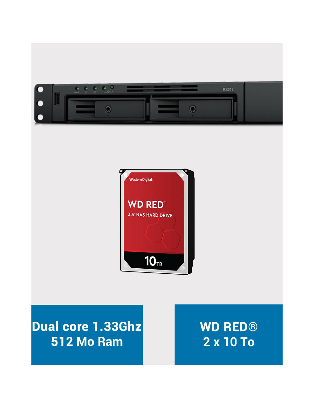 Synology RS217 NAS Server WD RED 20TB (2x10TB)