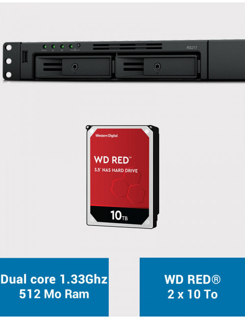 Synology RS217 Serveur NAS WD RED 20To (2x10To)