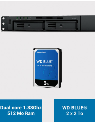 Synology RS217 Serveur NAS WD BLUE 4To (2x2To)