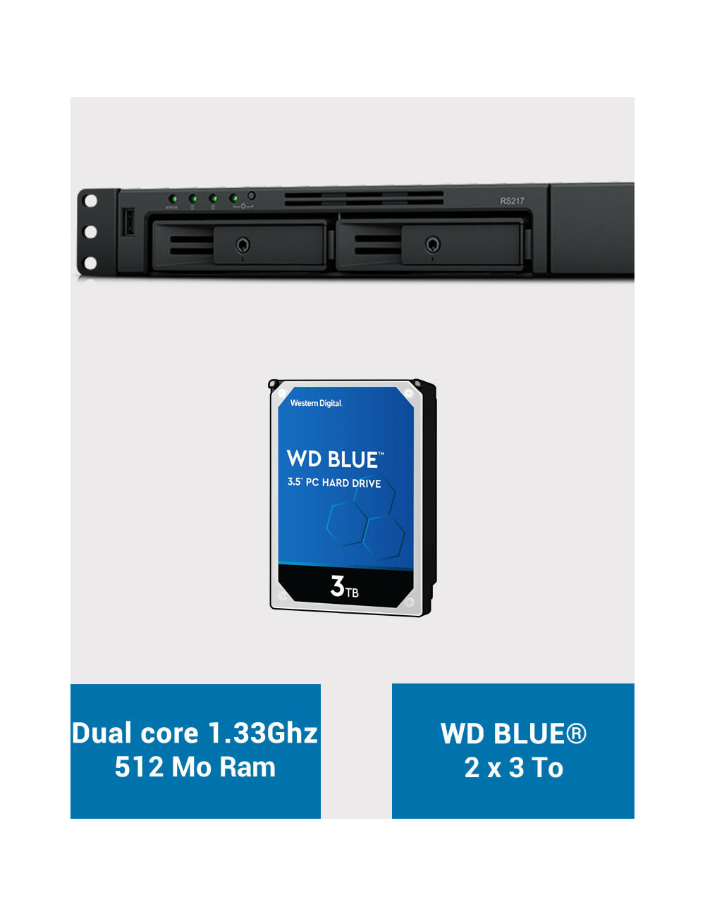 Synology RS217 Serveur NAS WD BLUE 6To (2x3To)