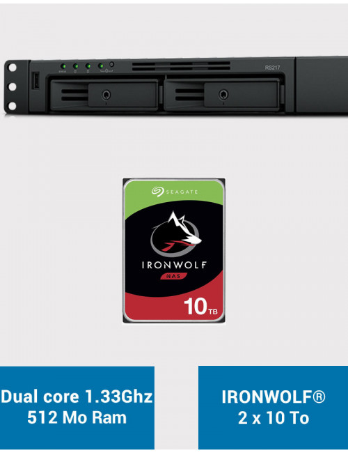 Synology RS217 Serveur NAS IRONWOLF 20To (2x10To)