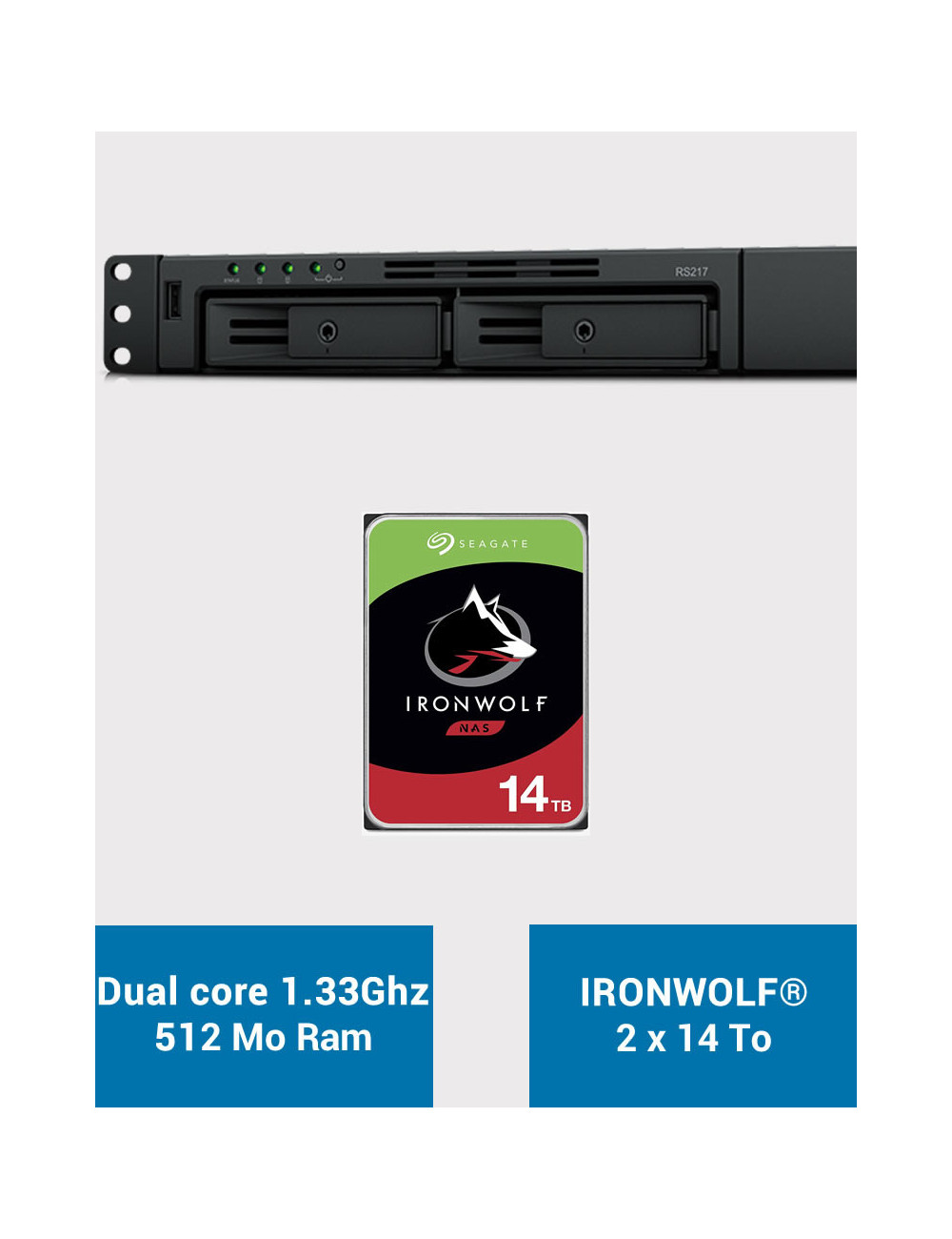 Synology RS217 NAS Server IRONWOLF 28TB (2x14TB)