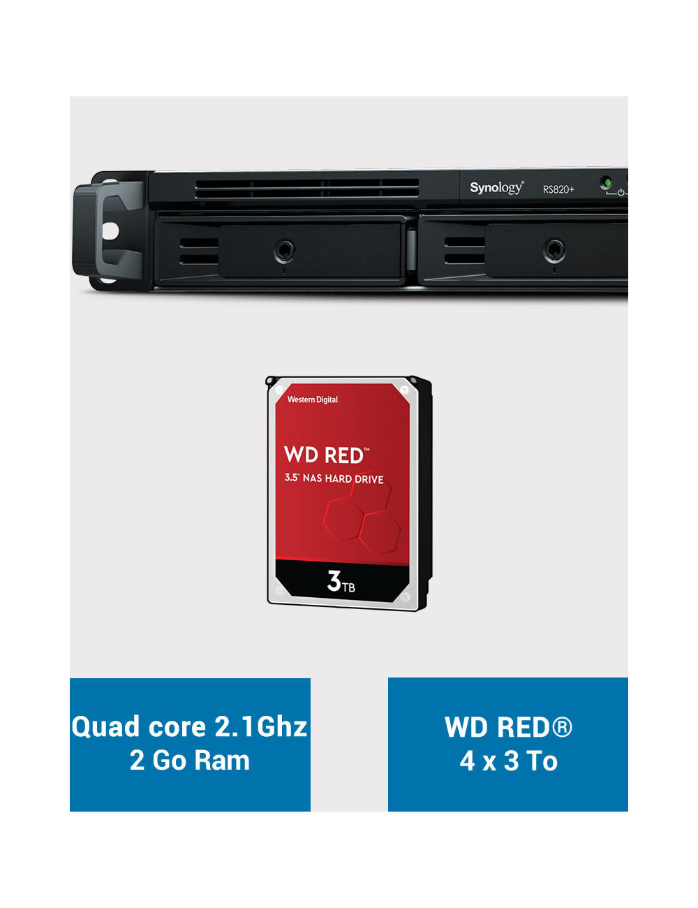 Synology RS820+ NAS Server WD RED 12TB (4x3TB)