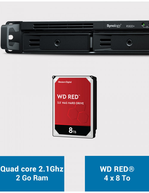 Synology RS820+ NAS Server WD RED 32TB (4x8TB)
